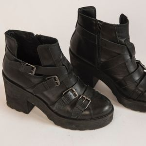 Topshop Black Leather Boots with Buckles